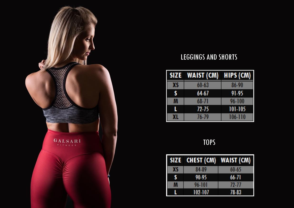 Size chart Galsari Fitness Brand